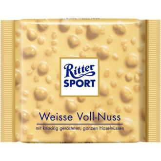 Риттер спорт 100г*10 Белый шоколад/Цельный орех