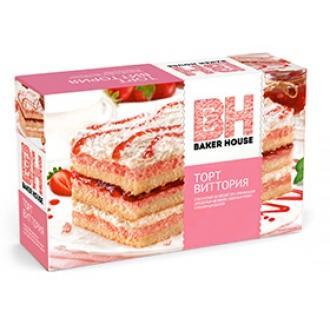 Торт бисквитный Baker House 350г*8 Клубника