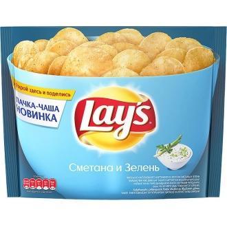 Лейс  240 г*10 чипсы Сметана/зелень /чаша/