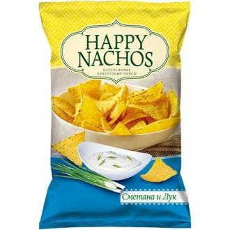 """Чипсы кукурузные """"Happy Nachos"""" 150г*18 Сметана и лук"""