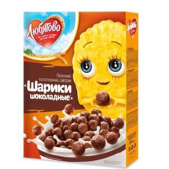 Завтраки сухие 'ЛЮБЯТОВО ' 250г*10 Шарики шоколадные