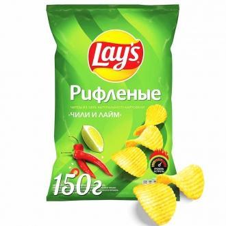 Лейс  150 г*18 чипсы рифленые Чили/Лайм