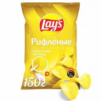 Лейс  150 г*18 чипсы рифленые Горчица