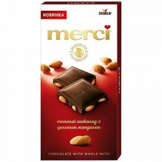 Мерси тёмный шоколад с цельным миндалем ...