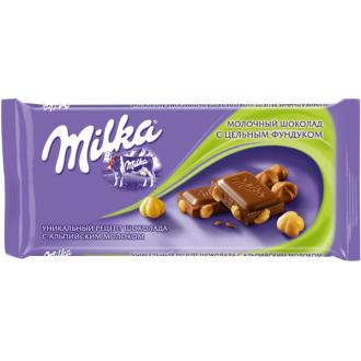 Милка шоколад 90гх19шт*(4бл) Фундук цельный